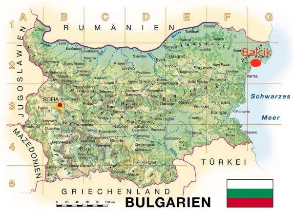 Landkarte Bulgarien